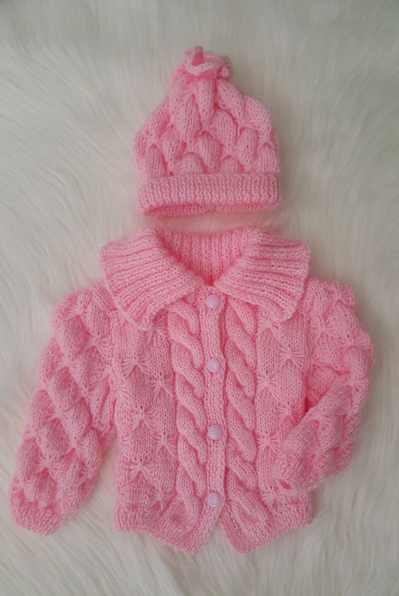 Knitted Baby Jacket Knitted Newborn Outfit Knitted by Pupolino