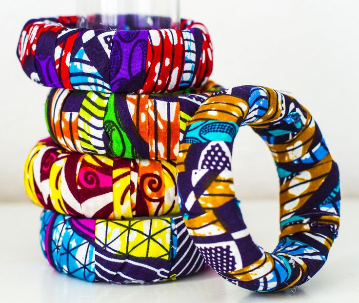 DIY African Ankara Dutch wax print bangles. Check fayahfayah.com on how to make them yourself!