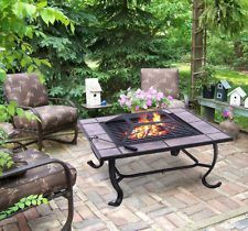 Outsunny 32 inch Square Outdoor Backyard Patio Firepit Table