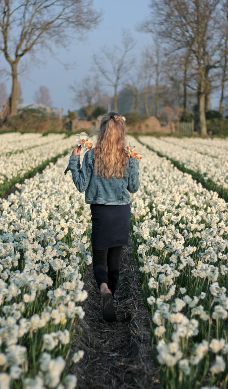 My lLittle girl walking in endless fields of daffodils. Too bad you cannot smell the flowers on this pictures, so lovely. Daffoil Bridal Crown has such a great smell  #daffodils #narcissus #flowerfield #flowerfarm #flowerbulbs #gardening