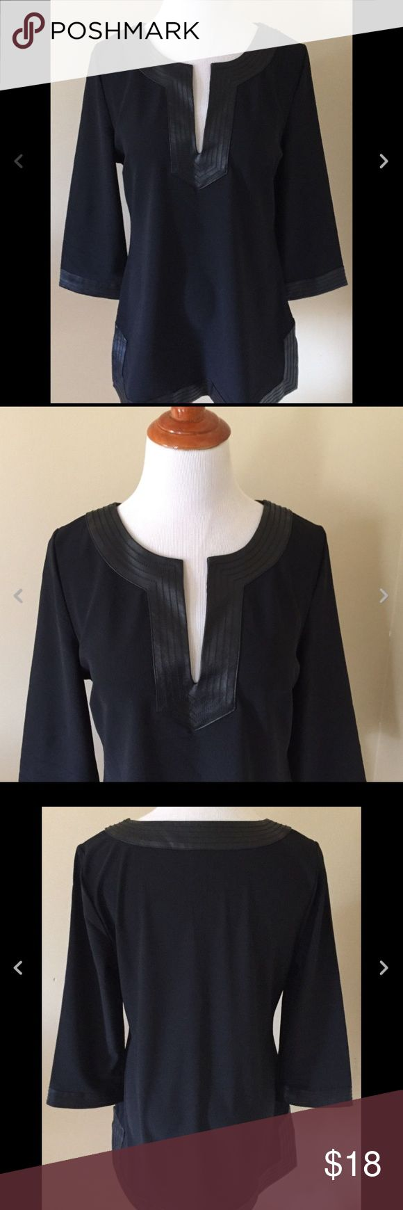 Boston Proper Black Vinyl Trim Top sz M Very good condition. Measures about 18 inches across the chest, 29 inches in length and a 19 inch sleeve Boston Proper Tops Blouses