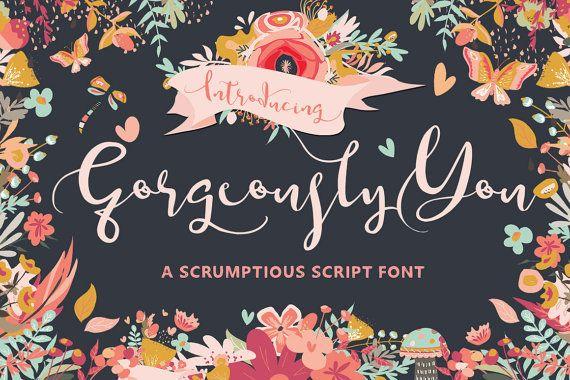 Digital Wedding Font Gorgeously You Digital by creativequbedesign