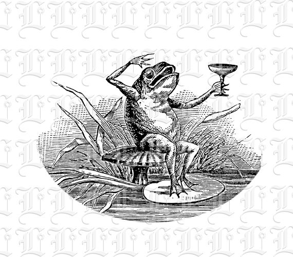 Comic Spot Illustration Drinking Frog Vintage Clip Art High ...