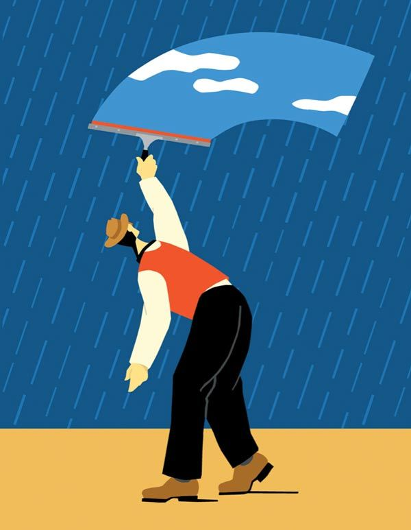 Craig Frazier Illustration: 'Painting the sky blue' is a figure of speech towards a dull rainy weather when all you want is a bright and sunny day.