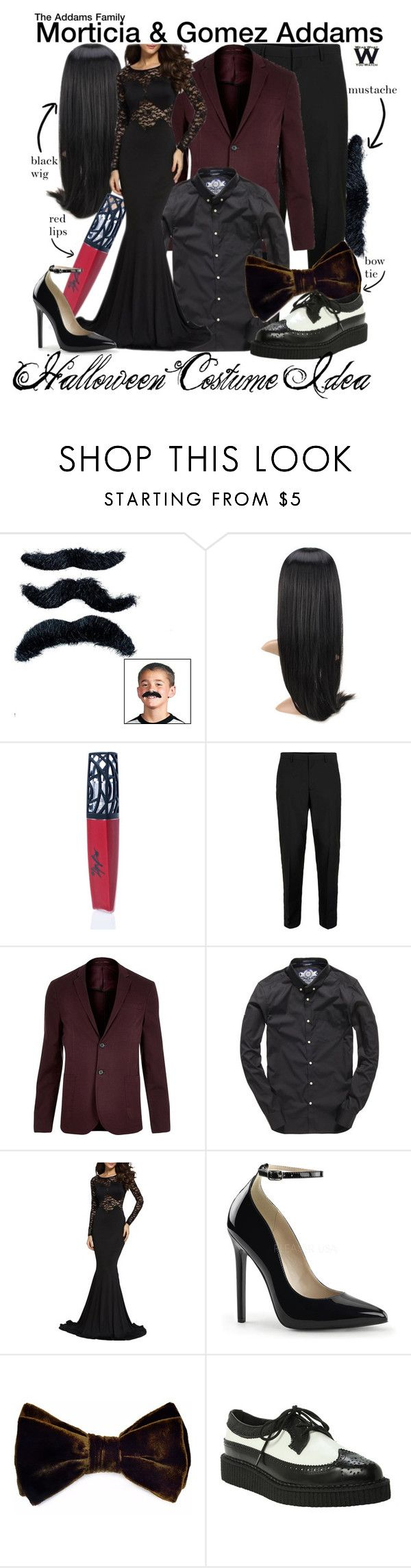 """""""The Addams Family"""" by wearwhatyouwatch ❤ liked on Polyvore featuring The Lip Bar, Topman, River Island, Superdry, Louise & Zaid, T.U.K., wearwhatyouwatch, film and halloweencostume"""