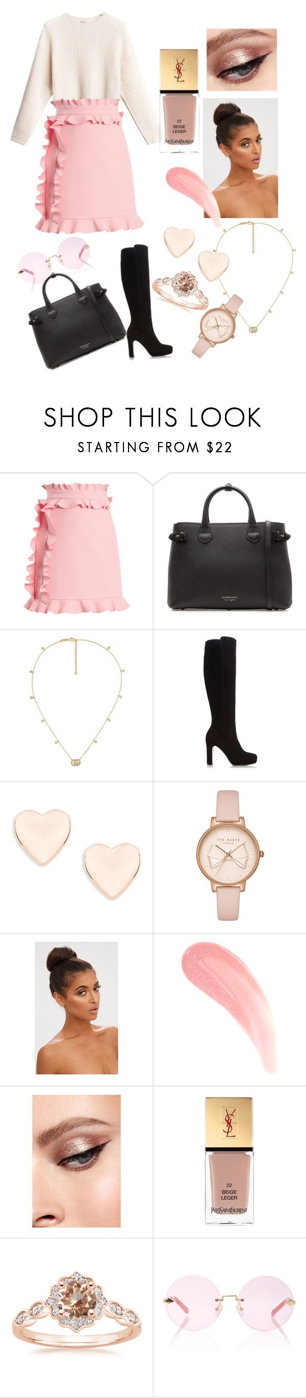 """""""Hana"""" by judehassan on Polyvore featuring MSGM, Burberry, Gucci, Dune, Ted Baker, Yves Saint Laurent and Karen Walker"""