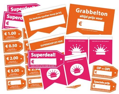 Gratis vrijmarkt pakket voor koninginnedag! Om zelf te printen.