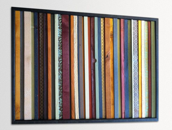 """Modern Wood Wall Art - """"India"""" - Wood Stripes in Orange, Yellow, Blues, Reds - 25"""" x 36"""" - Abstract Wood Art - Modern Wood Painting $525"""