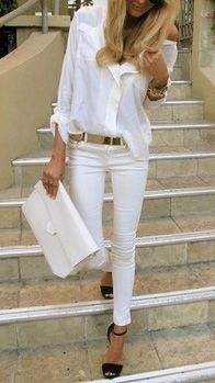 how to wear white jeans