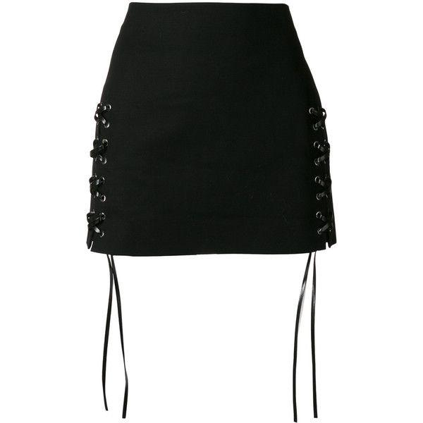 Helmut Lang laced mini skirt (739 AUD) ❤ liked on Polyvore featuring skirts, mini skirts, black, helmut lang, short skirts, lace up front skirt, helmut lang skirt and short mini skirts