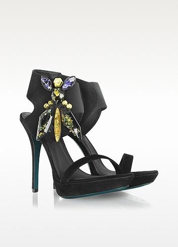 Patrizia Pepe Black Suede Platform Sandal | FORZIERI