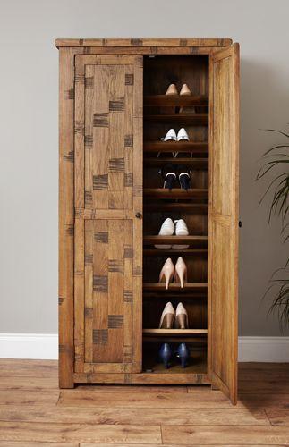 Rough Sawn Oak Large Shoe Cupboard  #wood #oak #furniture #shoes #storage #home #interior #decor #bedroom #cupboard