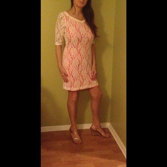 Pretty  ivory cream and peach crochet dress Perfect for spring. Midi length. B. Smart Dresses Midi