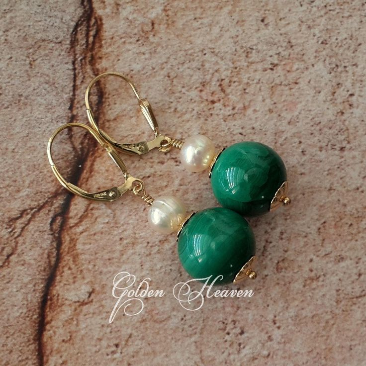 Natural Malachite Earrings 14k Gold filled and White Natural Pearls Malachite Gold Leverbacks Cute Gift for her Genuine Gemstone Jewelry by GoldenHeaven on Etsy