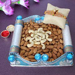 Buy online rakhi with Tray of Dryfruits for dear brother on this rakhi festival   #rakhiwithsweets #rakhiwithchocolate