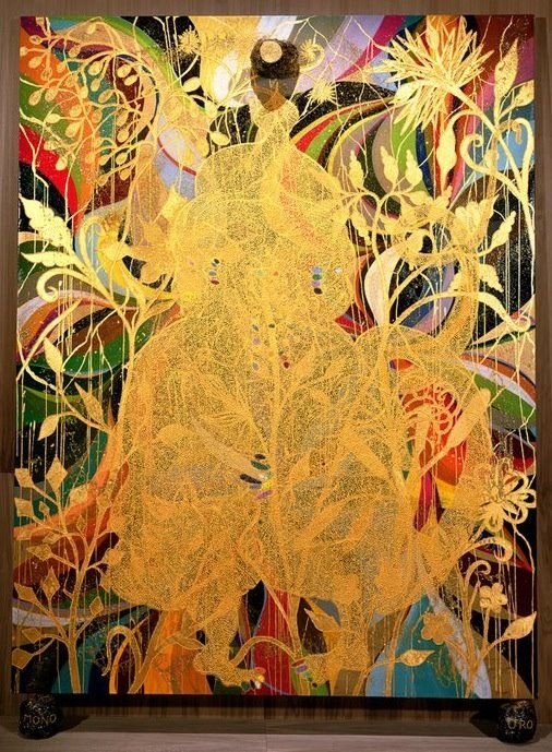 Chris Ofili -the gold material and how luminous it looks