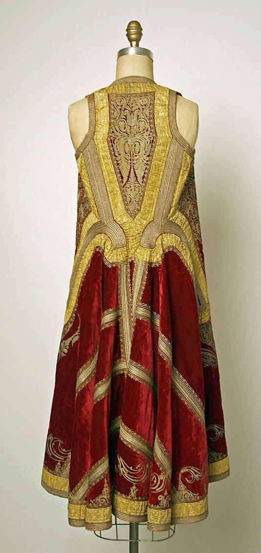 Coat - totally simple construction with lots of intricate embellishments and regal materials.  Eastern Europe, 19th century