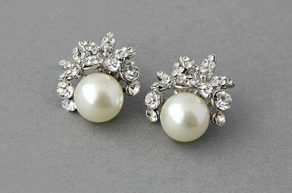 Bridal stud earrings. Crystal pearl wedding stud earrings, orchid pearls and crystals earrings, vintage pearls earrings- Style 474