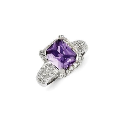 Sterling Silver Purple & Clear CZ Ring