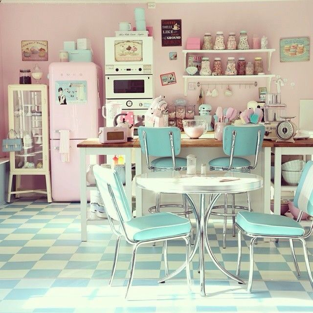 The kitchen of my dreams Pastel interior, love the pink fridge, with Audrey Hepburn poster on it!