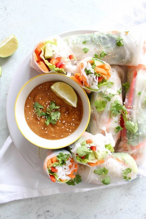 Thai Summer Rolls with Peanut Dipping Sauce - vegetarian, plant based, vegan, gluten free, refined sugar free