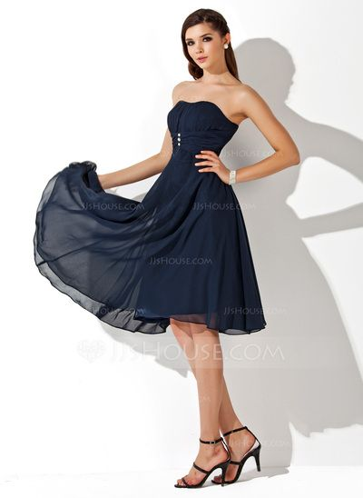 Bridesmaid Dresses - $89.99 - Empire Sweetheart Knee-Length Chiffon Bridesmaid Dress With Ruffle Beading (007020708) http://jjshouse.com/Empire-Sweetheart-Knee-Length-Chiffon-Bridesmaid-Dress-With-Ruffle-Beading-007020708-g20708