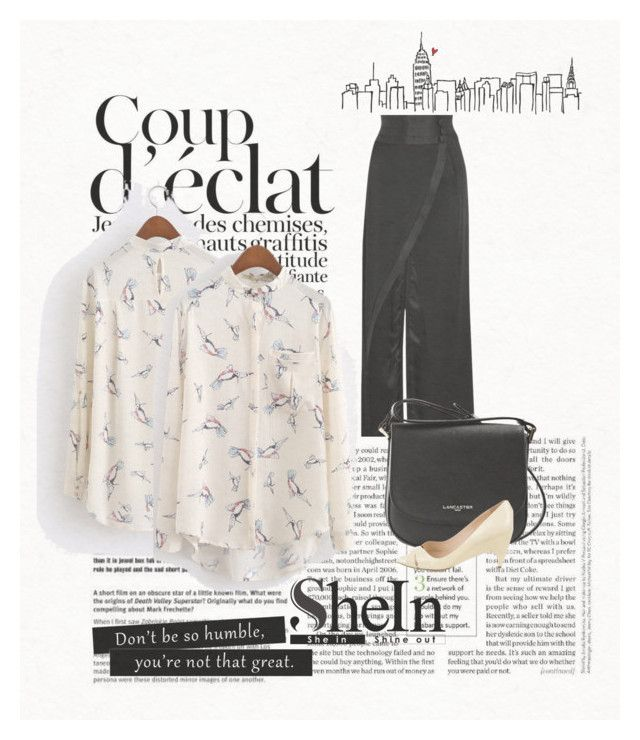 """""""shein beige blusa"""" by osiris-rojas ❤ liked on Polyvore featuring RVDK, Lancaster, Prada and Bela"""