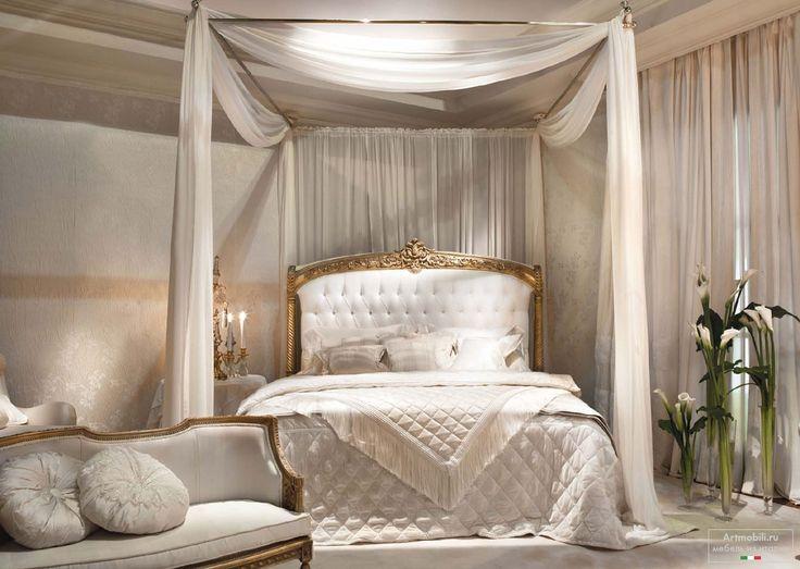 Décoration Intérieure Chambre / Blanc Et Bois / Couleurs Claires / Elégance  Raffinement Luxe / Baldaquin