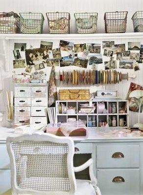 love this.Crafts Desks, Shabby Chic, Crafts Spaces, Crafts Room, Workspaces, Wire Baskets, Home Offices, Craft Rooms, The Wire