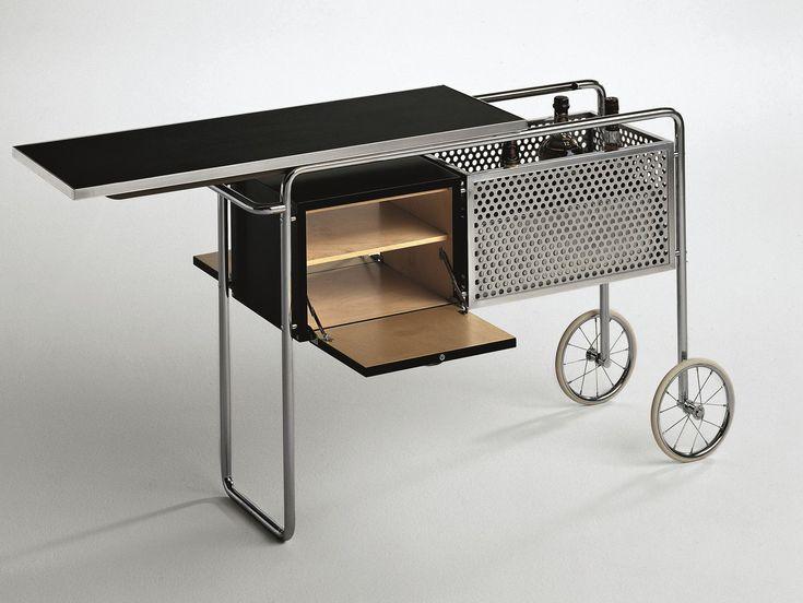 Mueble bar en acero y madera con ruedas AR1 by MisuraEmme diseño