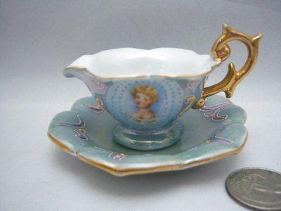 Vtg-Miniature-Portrait-Tea-Cup-Creamer-and-Saucer-Japan-Luster-Moriage