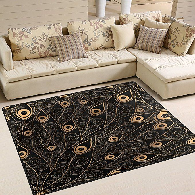 Incredible Alaza Gold Black Peacock Feather Area Rug Rugs Mat For Download Free Architecture Designs Sospemadebymaigaardcom
