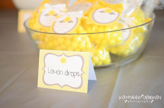 12 You Are My Sunshine Food Label Tent Cards or Place Cards - Baby Shower, Wedding, Birthday - Yellow & Grey on Etsy, $10.00