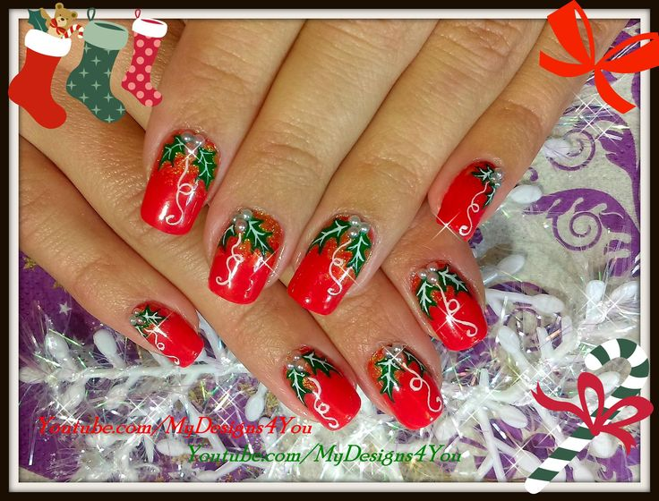 Traditional Christmas Nail Art Design   Red Holly Christmas Nails https://www.youtube.com/watch?v=zaGKmJU9lng