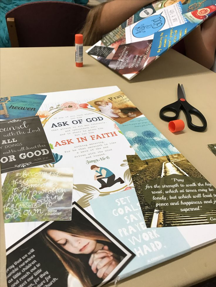 Vision Boards to visualize the 2017 LDS Mutual Theme  1. Score and cut a foam presentation board into 3 or 4 pieces (or leave it large)  2. Search and print a variety of quotes, pictures, and scriptures related to the theme (include the theme scripture as well) go to lds.org/youth for some free ones  3. Cut out the quotes, etc, arrange and glue to the foam board (you can use ModPodge instead)  4. Place in a prominent place
