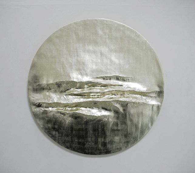 Beaux Arts London - Simon Allen Offshore   2014   12 ct White Gold Leaf on Carved Wood   Diameter: 153 cm (60.5 inches)