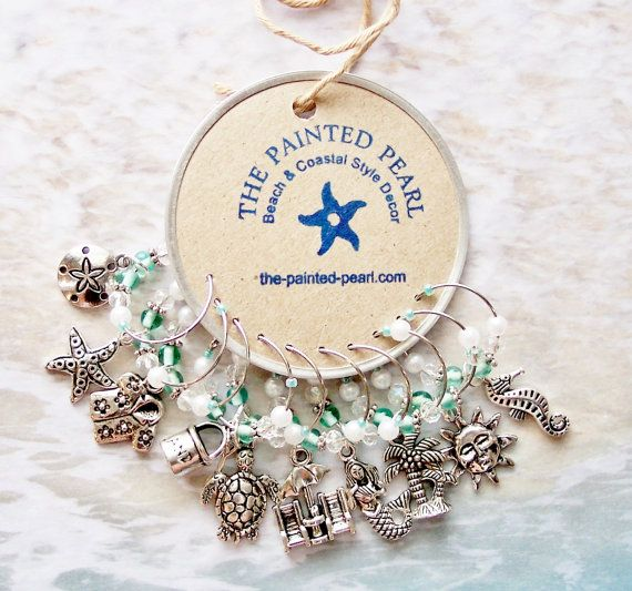 BEACH VIBE WINE CHARMS - SET OF 10!    Wine Charms, Sea Glass Colored Beads, Faux Pearls, and Antique Silver Charms of Beach Chairs and