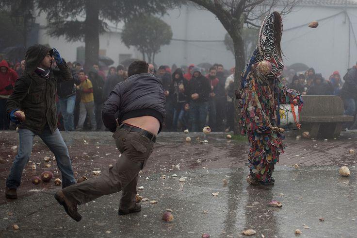 People hurl turnips at the Jarramplas on January 20, 2013.