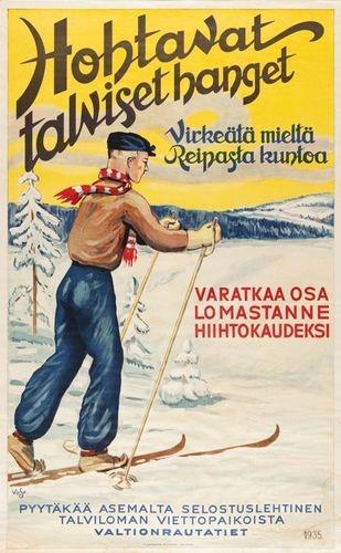 Hohtavat talviset hanget vuodelta 1935 on VR:n ensimmäinen nelivärijuliste. Kuva: Suomen Rautatiemuseo
