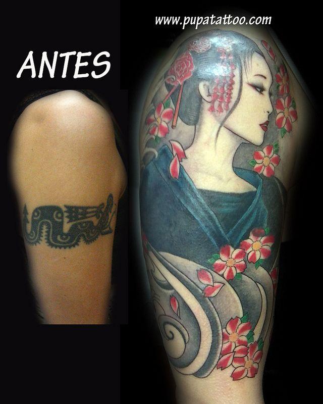 Tatuaje Cover up Geisha Pupa Tattoo Granada
