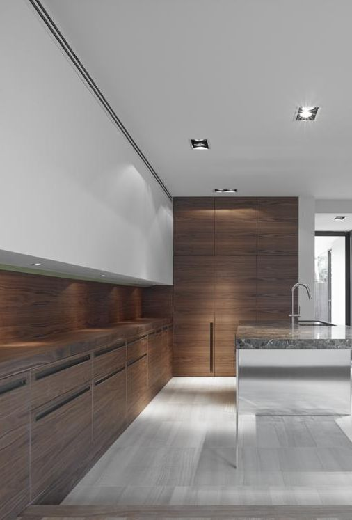 Minimalist Kitchen // stone floors and wood cabinets, by b.e architecture  #Kitchen #Cupboards #Wall #Cladding #Floor