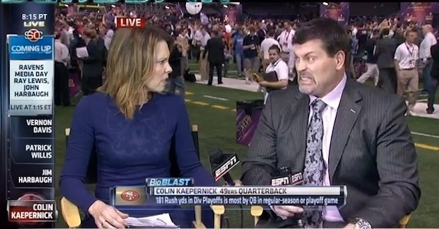 """ESPN snafu allows audience to see Hannah Storm and Mark Schlereth doubt Tim Tebow's future"" Yahoo! Sports (January 29, 2013)"