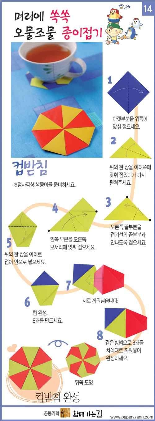[Ssokssok haj fonható szennyeződés origami - poháralátét