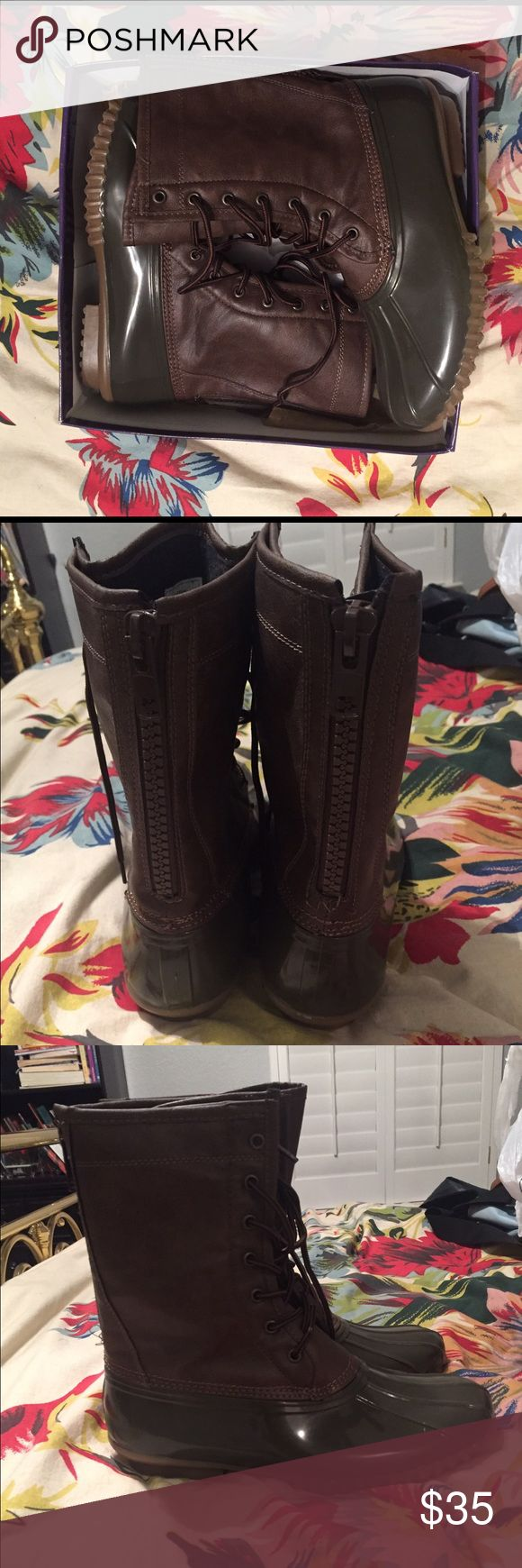 Madden Girl Duck Boots- Size 10! These have never been worn, and fit a little smaller than a normal size 10, but are so cute and comfy! Madden Girl Shoes Winter & Rain Boots