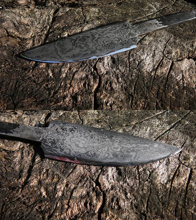 """Hand forged patternwelded knife. 120 layers. It's not damascus steel, as real damascus steel no longer exists. In Poland we call that type of steel a """"dziwer""""."""