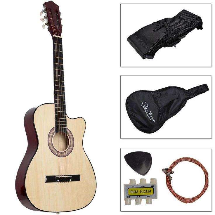 New Cutaway Design Acoustic Guitar W/Guitar Case Strap Tuner Pick Strings