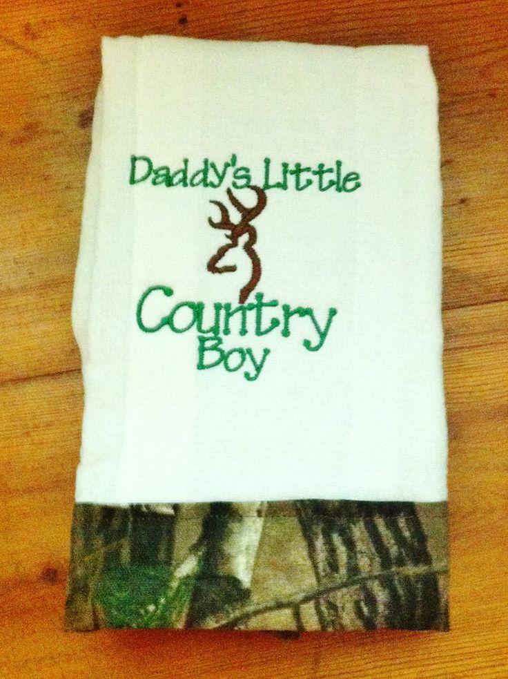 Baby Boy Burp Cloth - Daddy's Little Country Boy - Camo Hunting Burp Rag