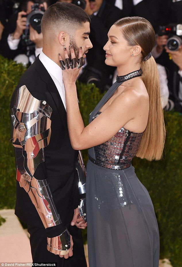Zayn Malik wears armoured sleeves for red carpet debut with girlfriend Gigi Hadid at Met Gala | Daily Mail Online