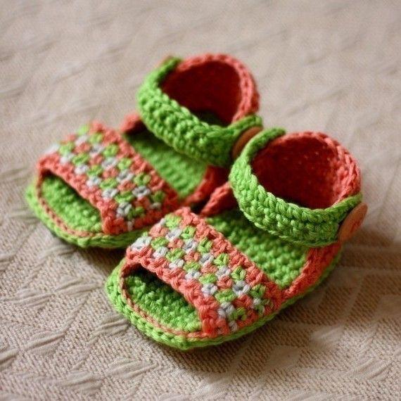 Crochet PATTERN Multi-coloured Sandals от monpetitviolon на Etsy