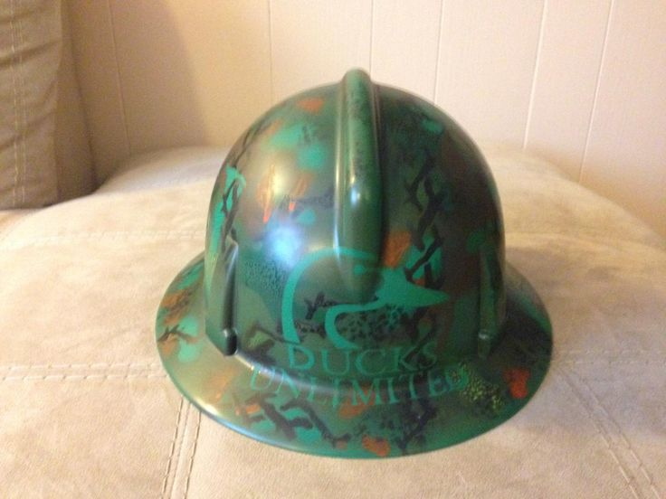 Camo airbrushed hard hat created for Ducks Unlimited!